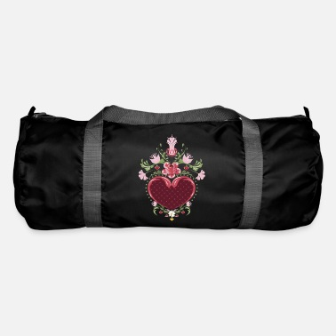 Romantic romantic peasant painting motif with flowers & heart - Duffle Bag