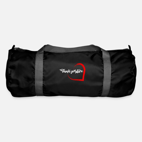 "Thoughts Bags & Backpacks - ""Think positive"" imprint - Duffle Bag black"