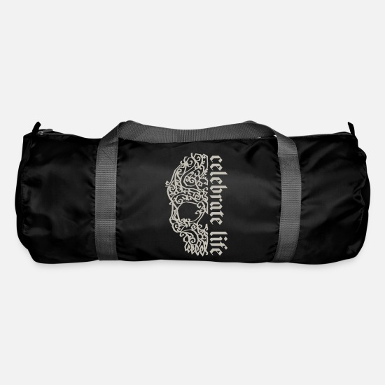 Rocker Bags & Backpacks - Artsy Vintage Skull Celebrate Life 1 - Duffle Bag black