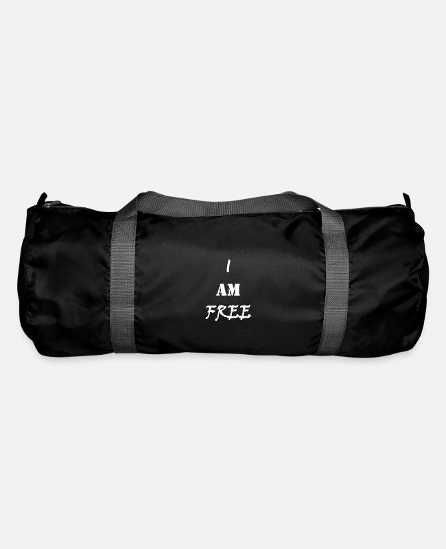 Quote Bags & Backpacks - I am free (withe) / I am free (white) - Duffle Bag black