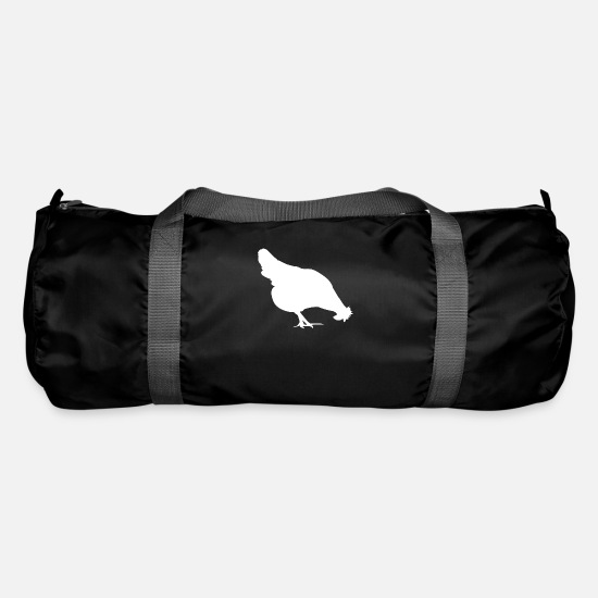 Chicken Coop Bags & Backpacks - Chicken hen picking eggs lay rooster chicken icon - Duffle Bag black
