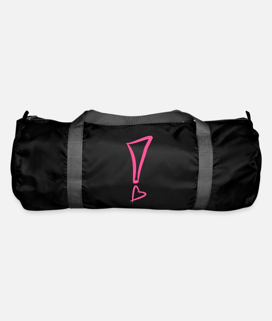 Birthday Bags & Backpacks - Exclamation mark with heart - Duffle Bag black