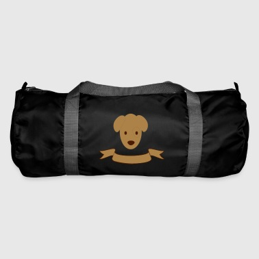 Dog's head with banner - choose text and color freely - Duffel Bag