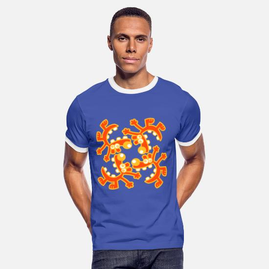 Animal T-Shirts -  A circle of Laughs by Cheerful Madness!! - Men's Ringer T-Shirt blue/white