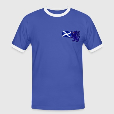 Scottish Lion Rampant Holding the Saltire Flag - Men's Ringer Shirt