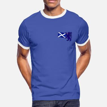 Lion Rampant Designs Scottish Lion Rampant Holding the Saltire Flag - Men's Ringer Shirt