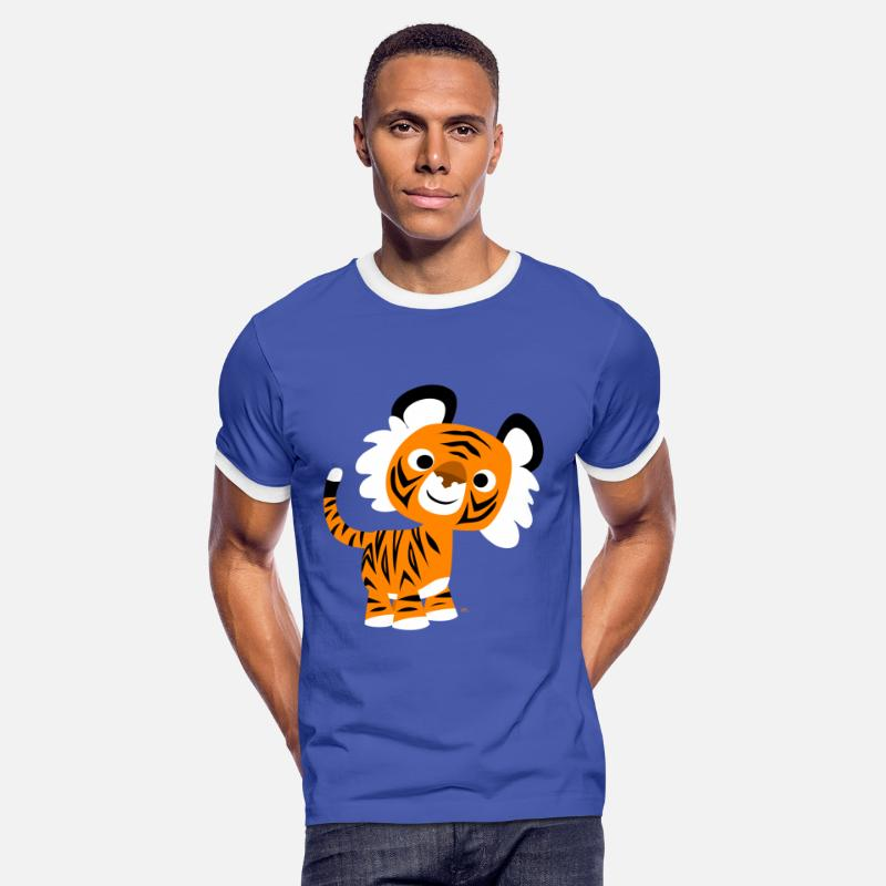 Art T-Shirts - Hello!! Cute Cartoon Tiger by Cheerful Madness!! - Men's Ringer T-Shirt blue/white