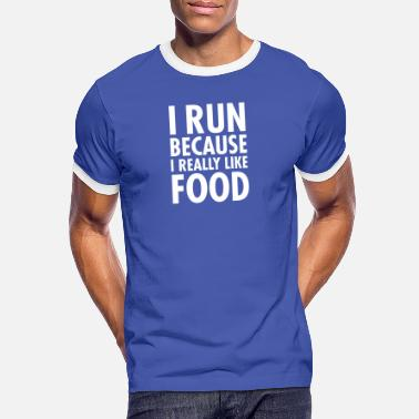 Övervikt I Run Because I Really Like Food - Kontrast T-shirt herr