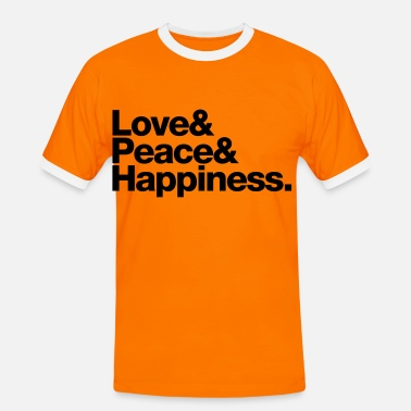 Jetset love peace happiness - Herre kontrast-T-shirt