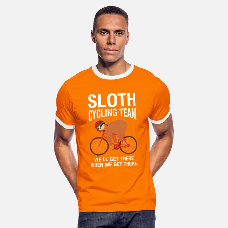 Cycling T-Shirts - Sloth Cycling Team - Men's Ringer T-Shirt orange/white