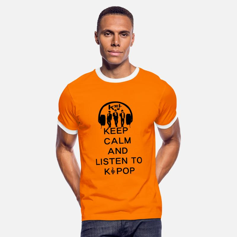 Beast T-Shirts - Keep calm and listen to KPOP  - Men's Ringer T-Shirt orange/white
