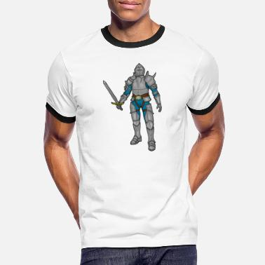 Knight in armor with sword - Men's Ringer T-Shirt