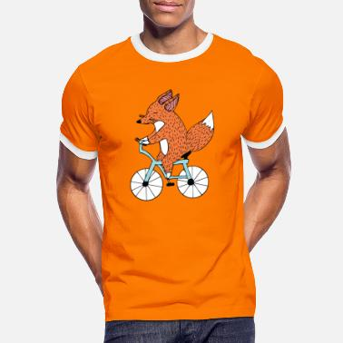 Summer Bicycle driving fox - Men's Ringer T-Shirt