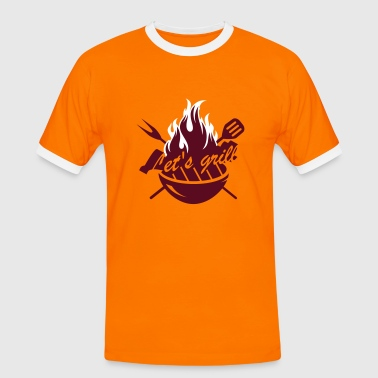A grill with barbecue utensils - Men's Ringer Shirt