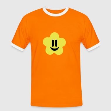 flower power smiley - Kontrast-T-shirt herr