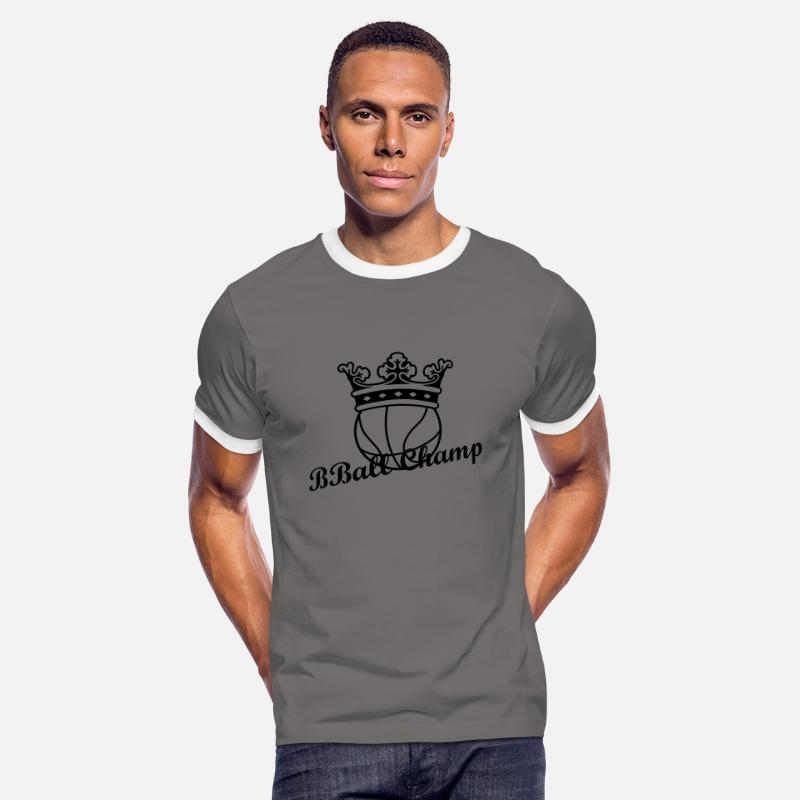 King T-Shirts - Basketball Crown - Men's Ringer T-Shirt dark grey/white