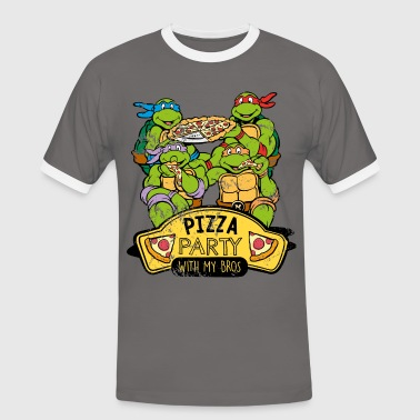 TMNT Turtles Pizza Party With My Bros - Kontrast-T-shirt herr