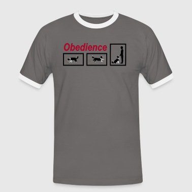 Border Collie Cartoon Obedience  - Men's Ringer Shirt