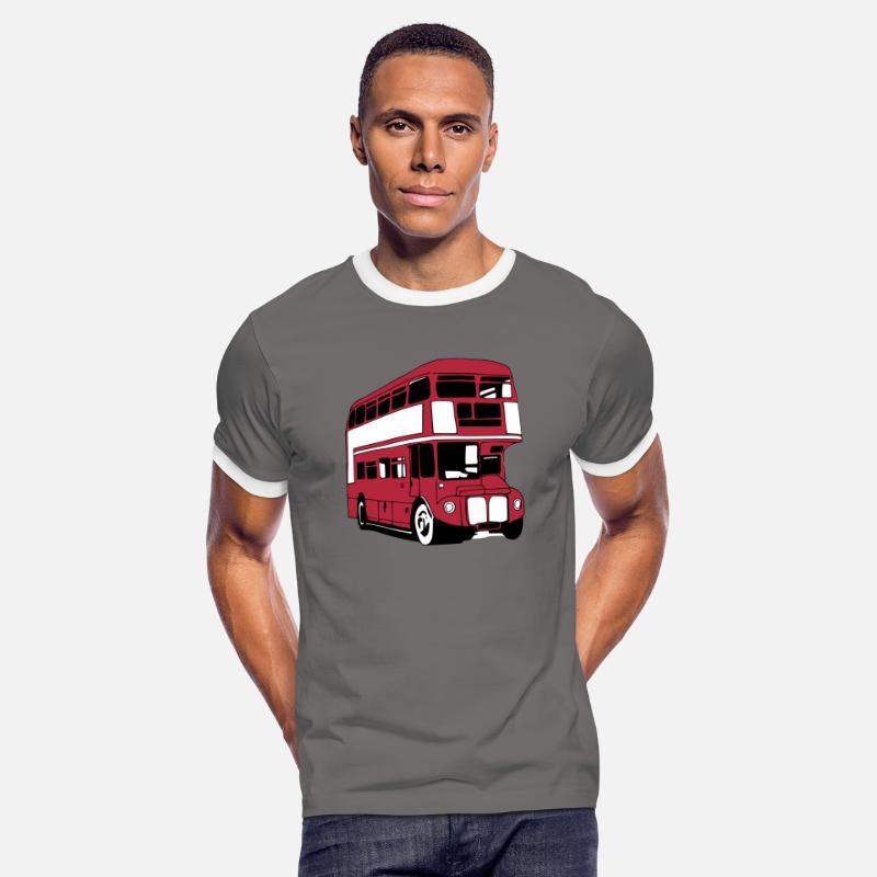 Bus T-Shirts - London-Bus (3 color) - Men's Ringer T-Shirt dark grey/white