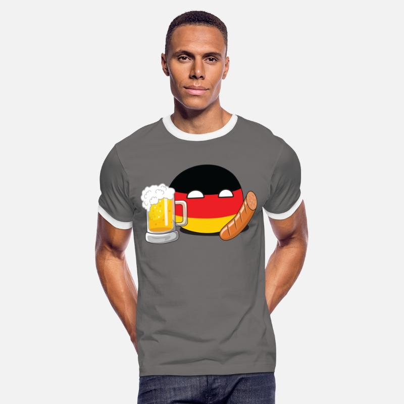 Beer T-Shirts - GermanyBall - Men's Ringer T-Shirt dark grey/white