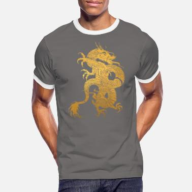 Kinesisk Drake Traditional Chinese Yellow Dragon Tribal - Kontrast T-shirt herr