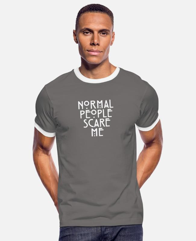 Let Down T-Shirts - American Horror Story Normal People Scare Me Tate - Men's Ringer T-Shirt dark grey/white