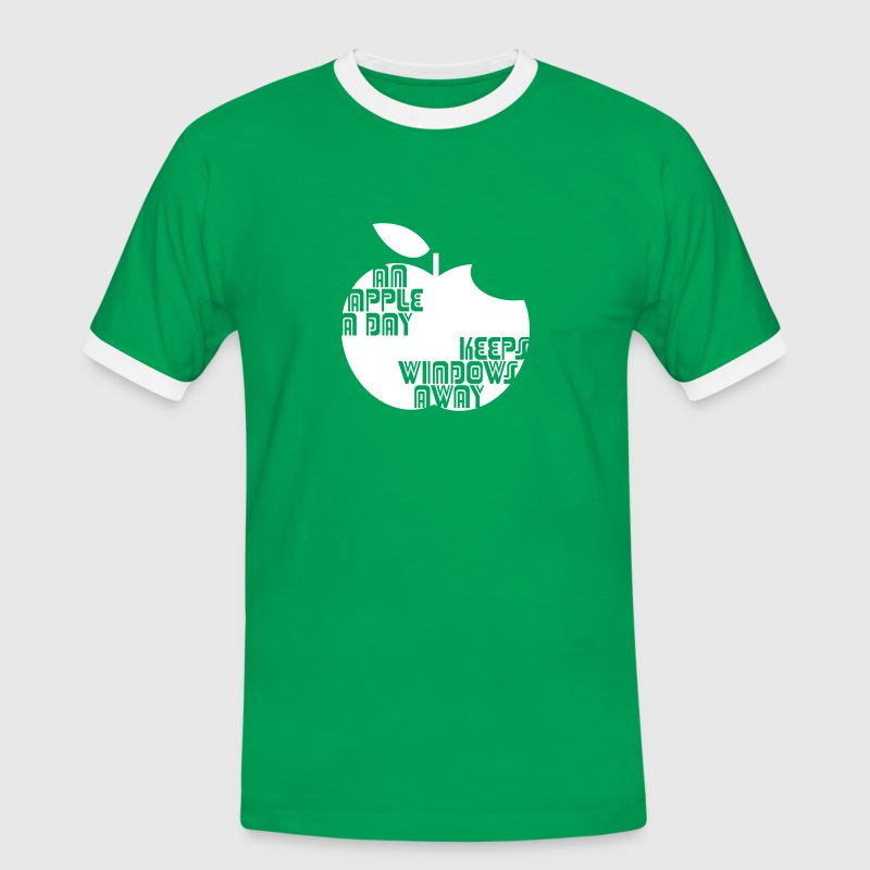 An Apple a day keeps Windows Away - Männer Kontrast-T-Shirt