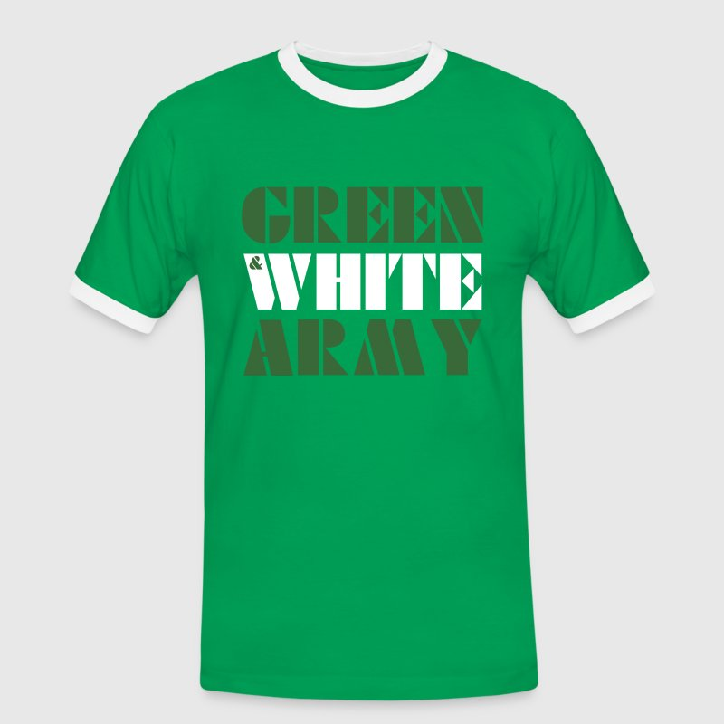 GREEN & WHITE ARMY _STENCIL_3 - Men's Ringer Shirt
