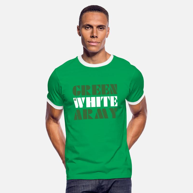 Northern Ireland T-Shirts - GREEN & WHITE ARMY _STENCIL_3 - Men's Ringer T-Shirt kelly green/white