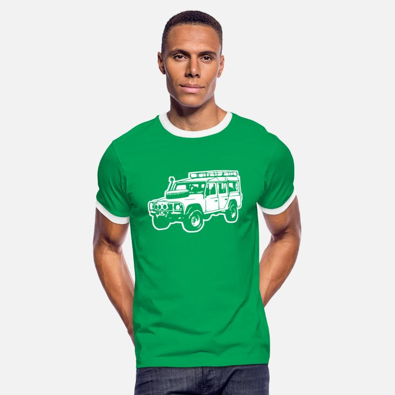 Jeep T-shirts - Land Rover Defender, Jeep, SUV - T-shirt contrasté Homme vert/blanc