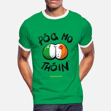 Irish Gaelic Kiss my Ass - Men's Ringer Shirt