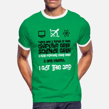 Mmo 3 Types of Geek - Computer, Science and RPG - Men's Ringer Shirt