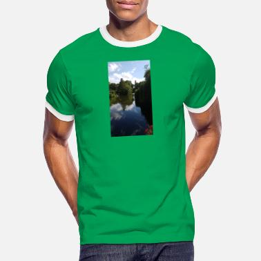 Belle nature photo étang arbres verts - T-shirt contrasté Homme