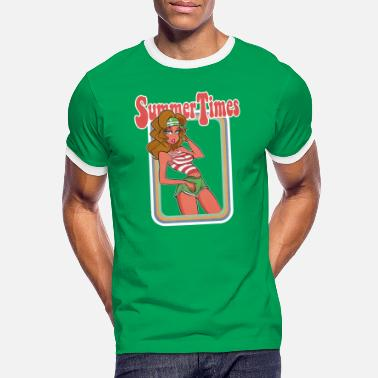 70s Summer 1979 Cartoon Pinup - Men's Ringer T-Shirt