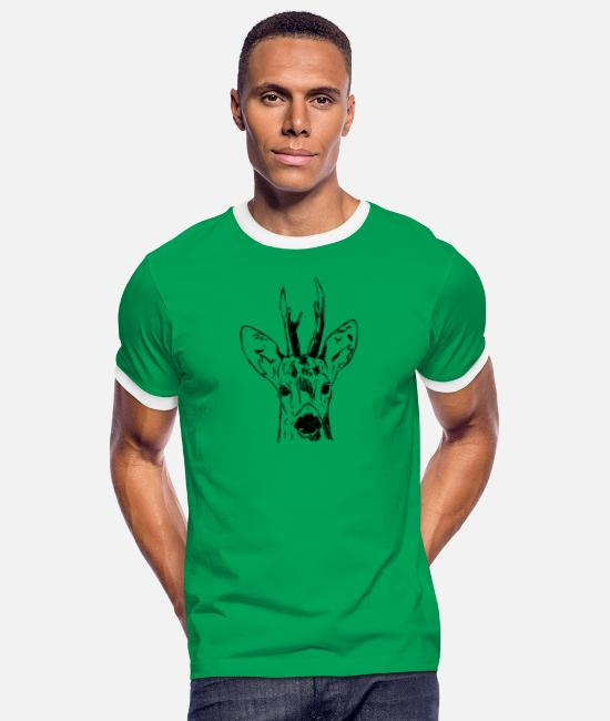 Stag T-Shirts - Ree - Men's Ringer T-Shirt kelly green/white