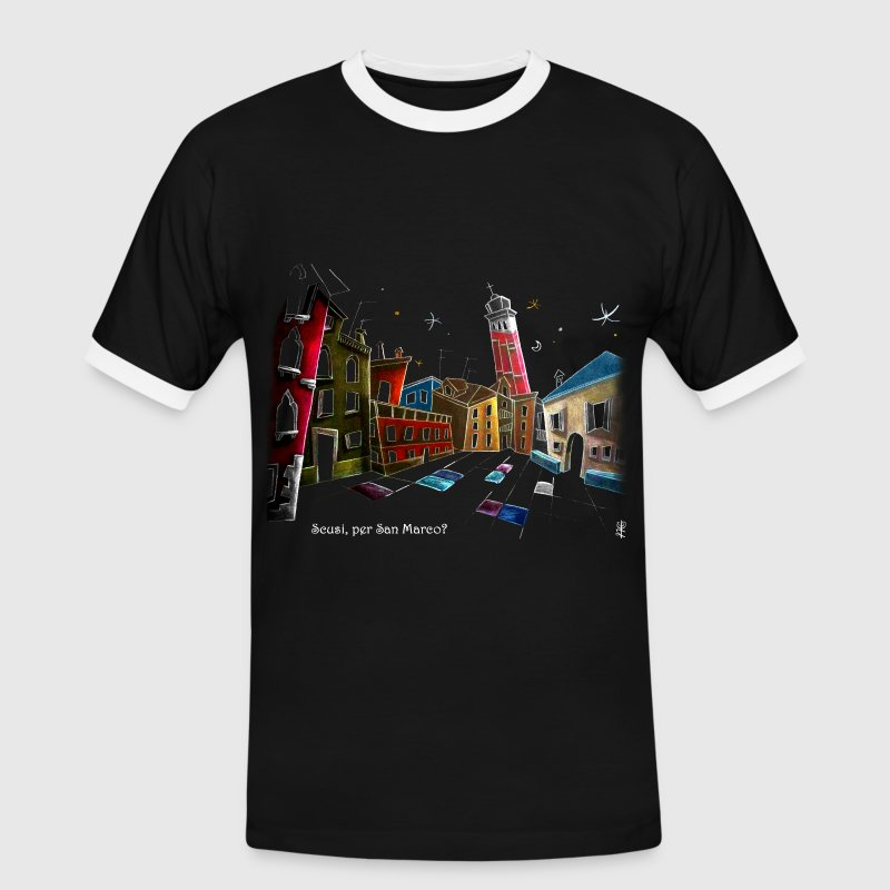 Art T-shirt Design Venice Italy - Children Fantasy Illustration - Men's Ringer Shirt