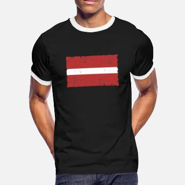 Used Letland Flag Used Look - Mannen ringer T-shirt