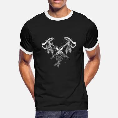 Etno Two crossed tomahawks - Men's Ringer Shirt