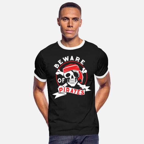 Gift Idea T-Shirts - Pirate buccaneers guys gift idea - Men's Ringer T-Shirt black/white
