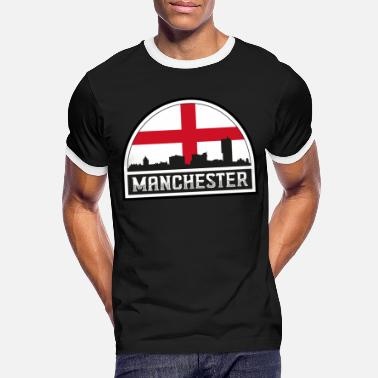 Cute Country T Manchester England Skyline Silhouette Englische Flagge - Männer Ringer T-Shirt