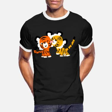 Tiger Cute Cartoon Tigers in Love by Cheerful Madness!! - Men's Ringer T-Shirt