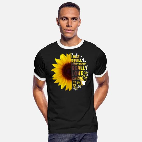 Love T-Shirts - I Just Really Really Love Cats Sunflower Women - Men's Ringer T-Shirt black/white