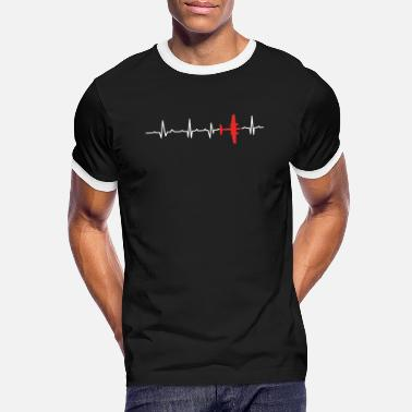 Fighter Jet Airplane Heartbeat Aircraft Air Jet Fighter - Men's Ringer T-Shirt