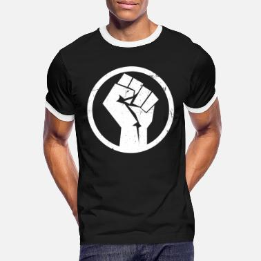 Anti Black Power Fist Vintage Distressed - Men's Ringer T-Shirt