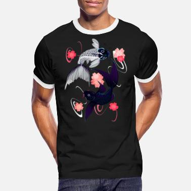 China Yin and Yang Koi and Cherry Blossoms - Männer Ringer T-Shirt