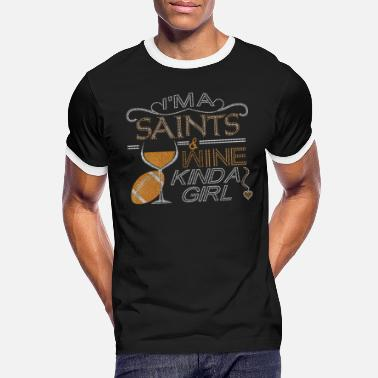 New Orleans Saints Crystal Embellished New Orleans Saints And Wine - Men's Ringer T-Shirt