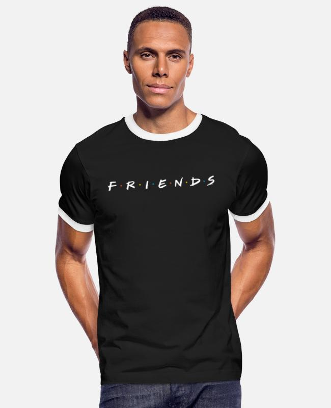 Friends Merchandise T-shirts - Friends Logo - Kontrast T-shirt mænd sort/hvid