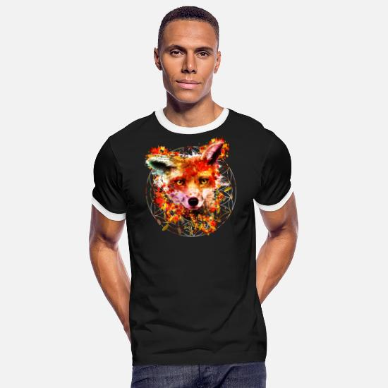 Fox T-Shirts - Watercolor Fox - Men's Ringer T-Shirt black/white