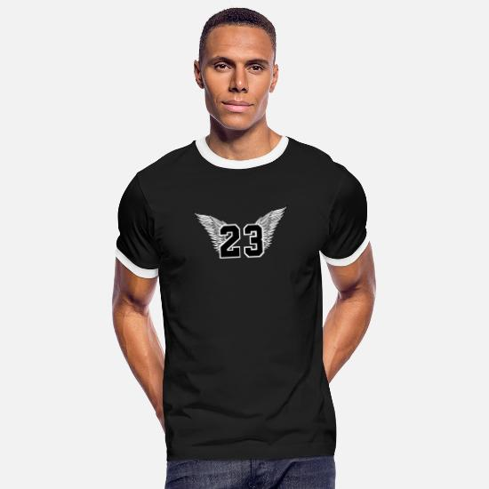 Birthday T-Shirts - Basketball number 23 Michael Jordan - Men's Ringer T-Shirt black/white