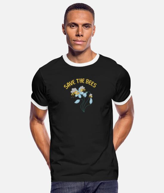 Save The Bees T-Shirts - Save the Bees - Männer Ringer T-Shirt Schwarz/Weiß